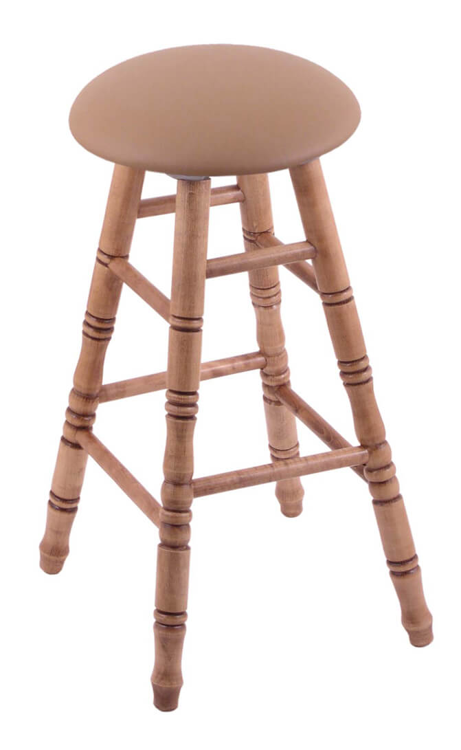 Round Cushion Domestic Hardwood Backless Swivel Stool with Turned Legs