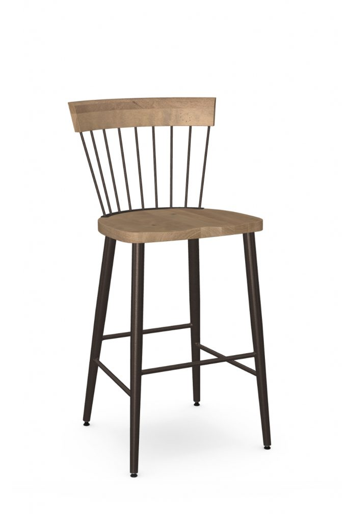 Amisco's Angelina Farmhouse Metal & Wood Barstool with Spindle Back Design