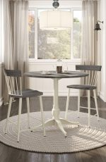 Amisco's Angelina Non-Swivel Barstools With Spindle Back Design, Wood Panel on Back and Seat - Shown in Farmhouse Dining Room