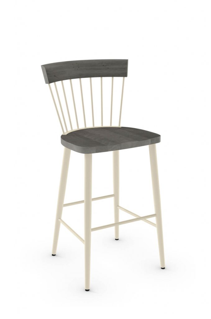 Amisco's Angelina Stationary Farmhouse Stool with Spindle Back Design, Wood Seat and Metal Frame