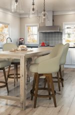 Amisco's Collin Swivel Padded Wood Barstools in Farmhouse Modern Kitchen