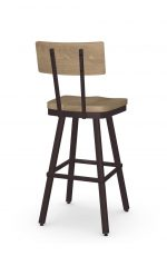 Amisco's Jetson Industrial Swivel Bar Stool in Brown with Wood Back and Seat - View of Back