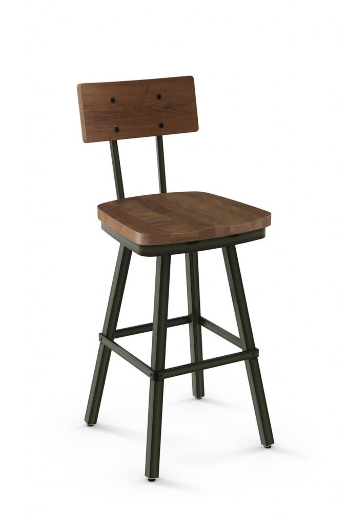 Amisco's Jetson Swivel Bar Stool with Distressed Wood Back and Wood Seat and Metal Frame