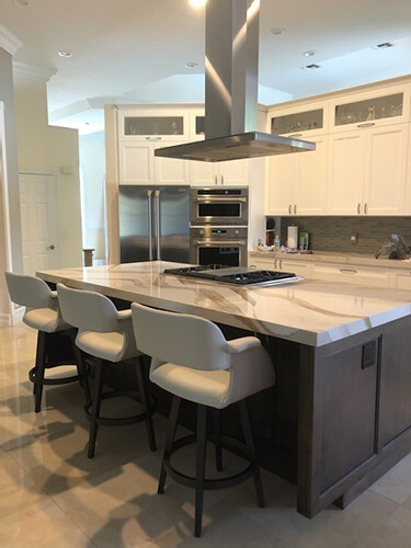 Amisco's Joshua Modern Big & Comfortable Wood Bar Stools in Kitchen