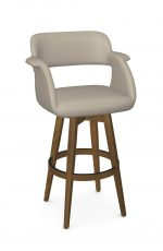 Amisco's Joshua Modern Large Wood Swivel Bar Stool with Padded Arms