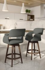 Amisco's Joshua Upholstered Big Swivel Barstools (shown in brown and gray) - In Ultra Modern Bright White Kitchen