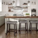 Amisco's Miller Saddle Backless Counter Stools in Transitional White and Brown Kitchen