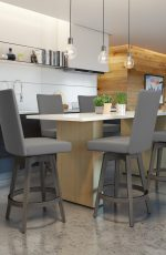 Amisco's Noah Swivel Padded Barstools in Modern Kitchen with Pub Table