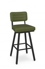 Amisco's Phoebe Black Swivel Bar Stool with Green Fabric