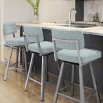 Amisco's Phoebe Urban Upholstered (in Blue) Modern Swivel Metal Stools in Modern Kitchen
