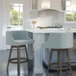 Amisco's Wayne Wood Swivel Counter Barstools in Transitional White and Blue Kitchen with Tile Flooring