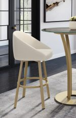 Amisco's Wembley Upholstered Swivel Bar Stool with Low Backrest next to Pub Table