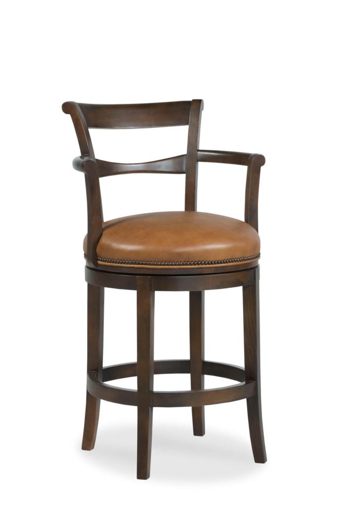 Fairfield's French 75 Wooden Swivel Barstool with Arms and Round Seat Cushion