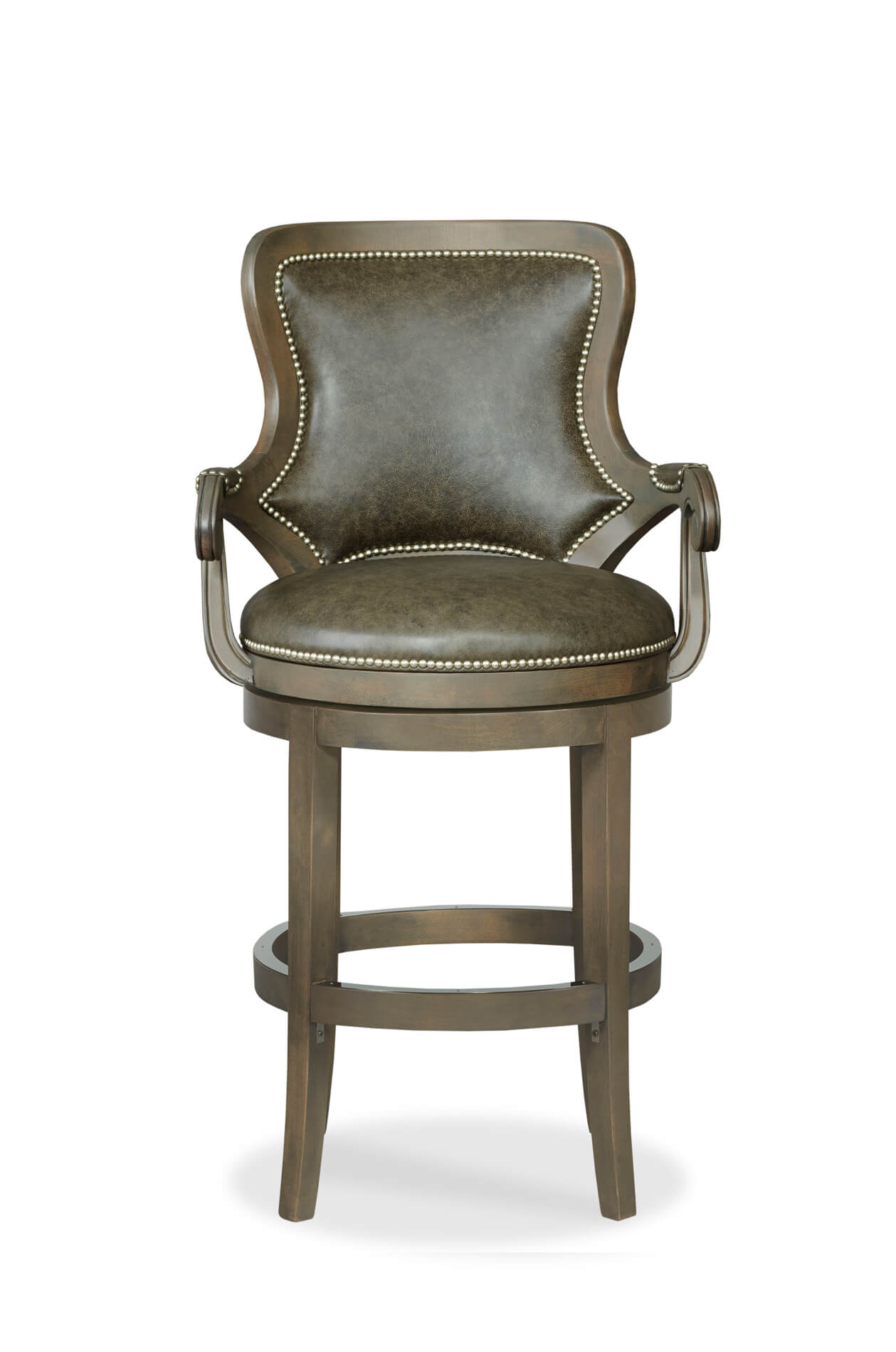 Buy Spritzer Upholstered Wood Swivel Bar Stool W Arms Free Shipping