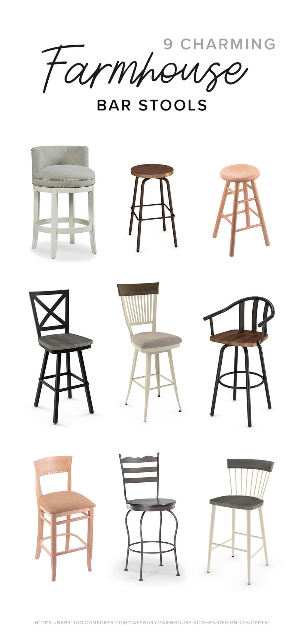 9 Charming Farmhouse Style Bar Stools