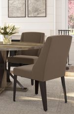 Amisco's Bridget Upholstered Dining Chairs in Brown in Transitional Dining Room with Table
