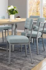 Amisco's Phoebe Metal Upholstered Dining Chairs in Bright Dining Room with Dining Table