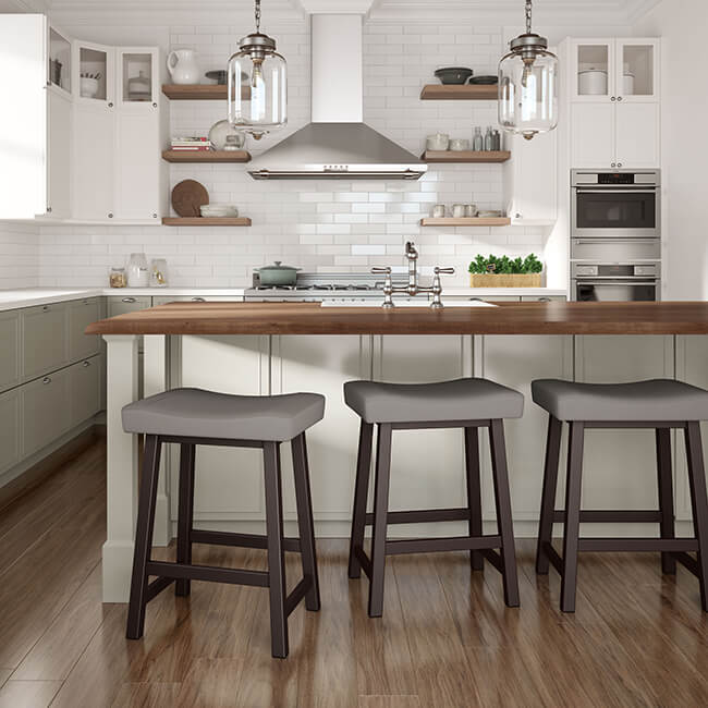 Farmhouse Kitchen with Backless Farmhouse Bar Stools