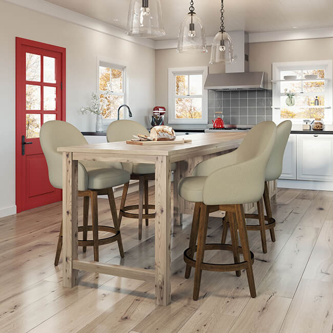 Farmhouse Kitchen with Farmhouse Style Bar Stools with Backs