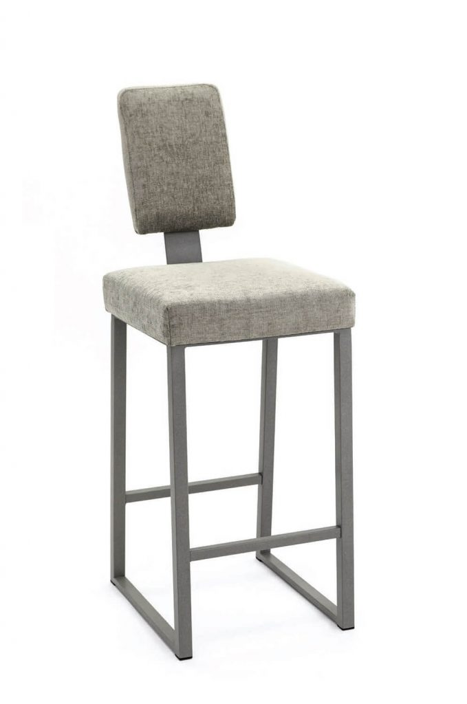 Wesley Allen's Brentwood Modern Upholstered Stationary Barstool with Skinny Tall Backrest and Sled Metal Base