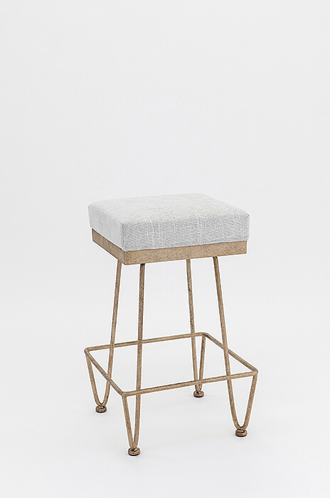 Wesley Allen's Clark Backless Bar Stool with Thick, Square Seat Cushion and Unique Metal Base