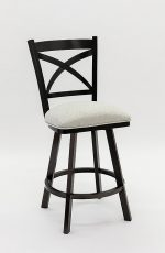 Wesley Allen's Edmonton Swivel Barstool in Black Stainless Steel Metal Finish