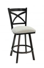 Wesley Allen's Edmonton Swivel Barstool in Black Stainless Steel Metal Finish and Off-White Seat Cushion