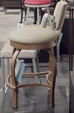 Wesley Allen's Eureka Swivel Round Barstool with Upholstered Back and Seat