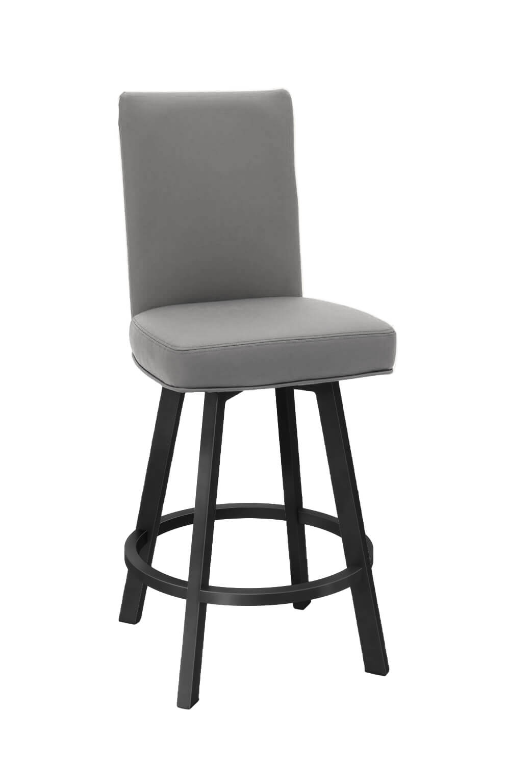 Wesley Allen's Jackson Upholstered Swivel Barstool with Tall Back and Metal Base and Seat Back Cushion