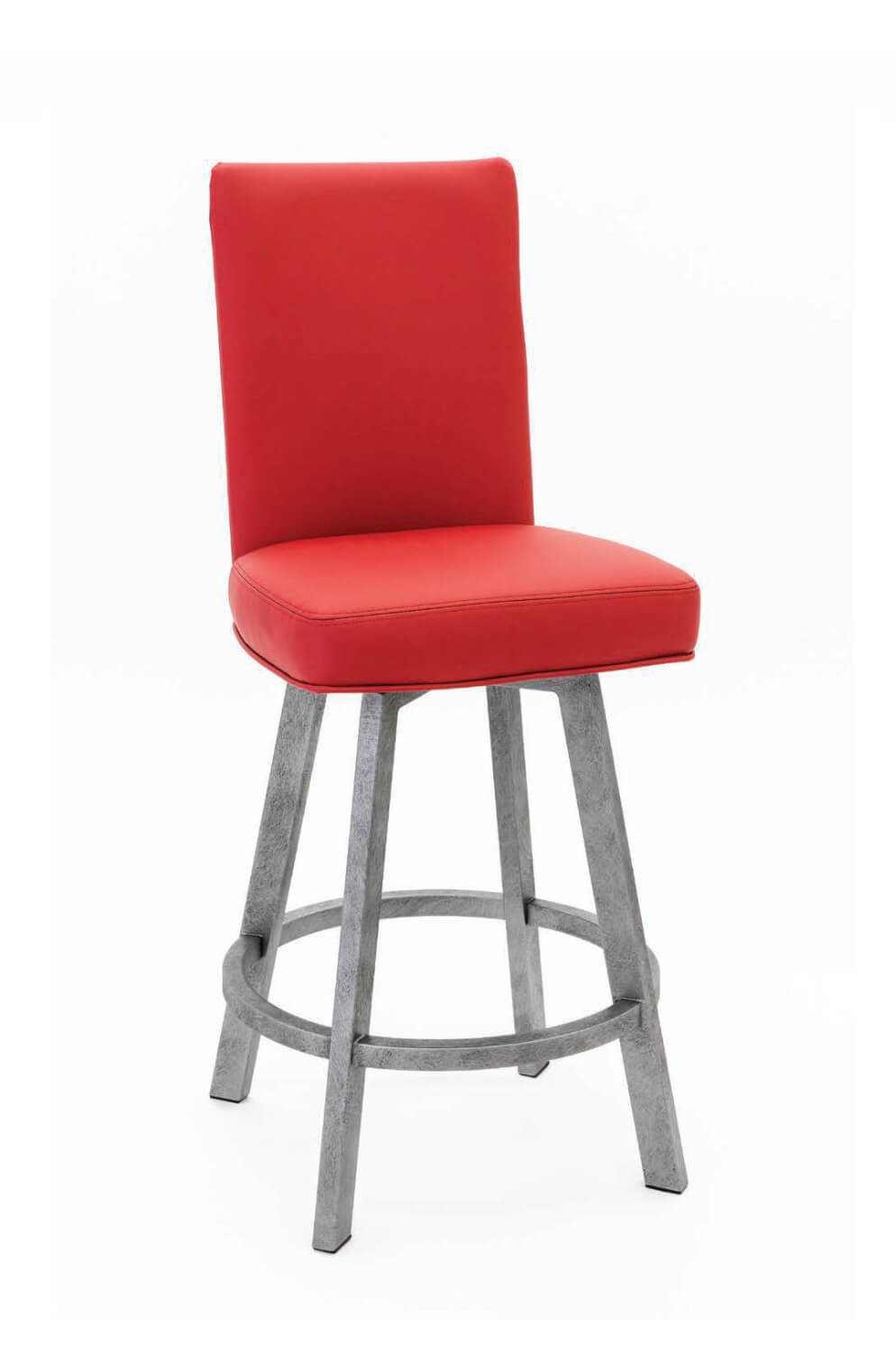 Wesley Allen's Jackson Upholstered Swivel Barstool with Tall Back and Metal Base and Red/Seat Back Cushion