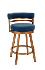 Wesley Allen's Miramar Swivel Barstool with Low Back in Copper Stainless Steel Metal Finish and Blue Upholstery