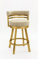 Wesley Allen's Miramar Swivel Barstool with Low Back in Gold Stainless Steel Metal Finish and Sand Color Upholstery
