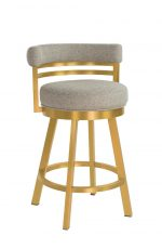 Wesley Allen's Miramar Swivel Barstool in Gold Stainless Steel Metal Finish and Tan Seat Cushion