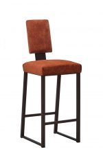 Wesley Allen's Brentwood Modern Bar Stool with Sled Base with Terracotta Cushion Color