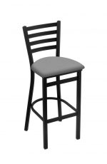 Holland's Jackie #400 Stationary Barstool with Back in Black Metal Finish and Gray Seat Cushion
