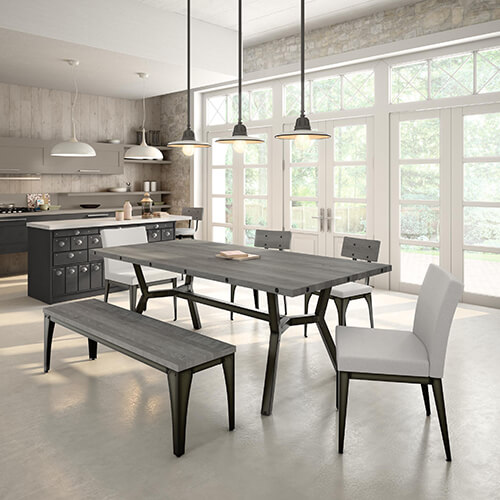 Kitchen/dining space with gunmetal accents