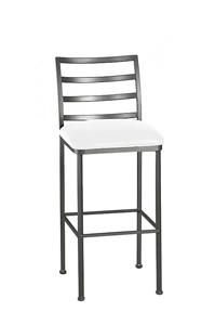 Modern Barstool with Back in Pewter Metal Finish