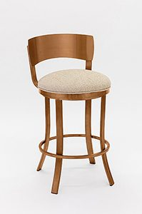 Swivel Bar Stool with Low Back in Copper Stainless Steel
