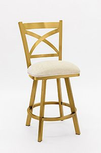 Swivel Bar Stool with Back in Gold Stainless Steel