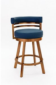 Swivel Counter Stool in Copper Stainless Steel with Navy Seat and Back Vinyl
