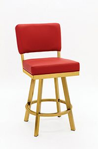 Swivel Counter Stool with Back in Gold Stainless Steel and Red Seat Back Cushion