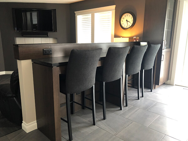 Trica's Biscaro Modern Upholstered Counter Stools in Modern Home Bar