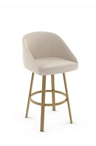 Upholstered Swivel Barstool in Gold Metal Finish