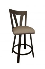 Callee's Austin Swivel Brown Bar Stool with Sun Bronze Metal Back, Footrest, and Seat Cushion
