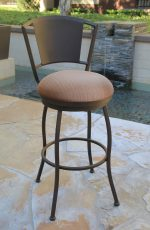 Callee's Bristol Outdoor Swivel Barstool with Metal Back in Sun Bronze and Round Seat Cushion