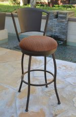 Callee's Bristol Outdoor Swivel Barstool with Metal Back in Sun Bronze and Round Seat Cushion in Dark Brown Cushion