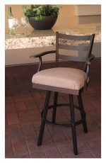 Callee's Claremont Outdoor Swivel Bar Stool with Arms in Bronze Metal Finish, Arms, and Light Seat Cushion Near Outdoor Bar