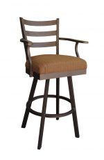 Callee's Claremont Outdoor Swivel Bar Stool with Ladder Back, Metal Frame, Arms, and Seat Cushion in Brown