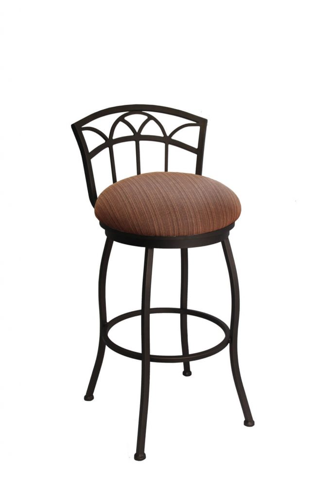 Callee's Fairview Outdoor Swivel Bar Stool with Low Back in Bronze Finish and Dark Brown Seat Cushion