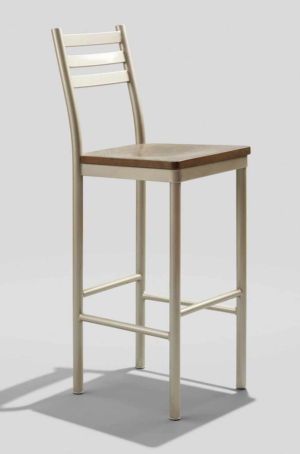 Grand Rapid's Ladder Back Stationary Tall Barstool with Metal Frame and Wood Seat - Commercial Grade